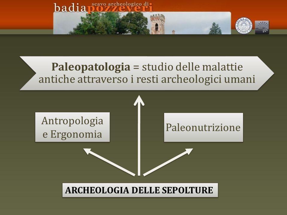 Paleopatologia = studio delle malattie antiche attraverso i resti archeologici umani ARCHEOLOGIA DELLE SEPOLTURE Antropologia e Ergonomia Paleonutrizi