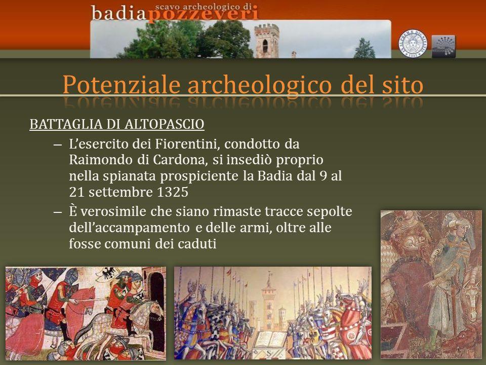 BATTAGLIA DI ALTOPASCIO – Lesercito dei Fiorentini, condotto da Raimondo di Cardona, si insediò proprio nella spianata prospiciente la Badia dal 9 al