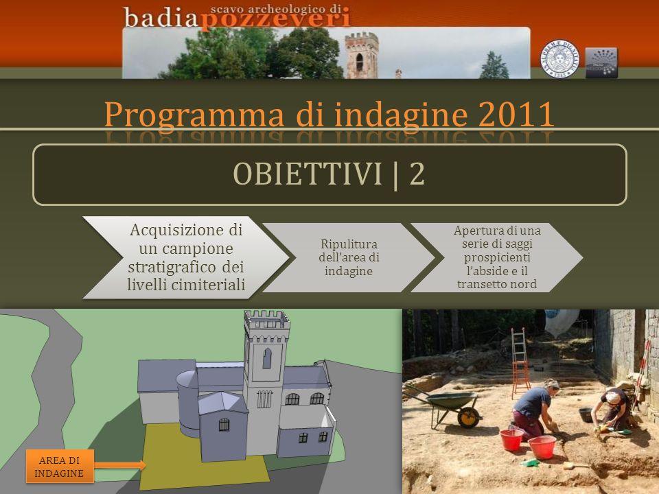 OBIETTIVI | 2 Acquisizione di un campione stratigrafico dei livelli cimiteriali Ripulitura dellarea di indagine Apertura di una serie di saggi prospic