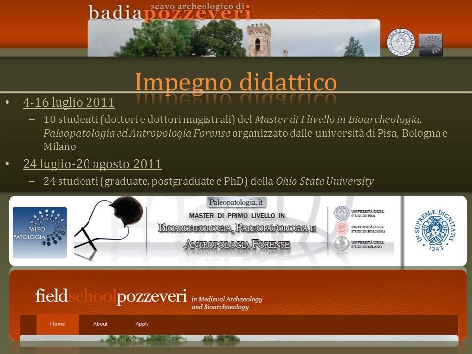 4-16 luglio 2011 – 10 studenti (dottori e dottori magistrali) del Master di I livello in Bioarcheologia, Paleopatologia ed Antropologia Forense organi