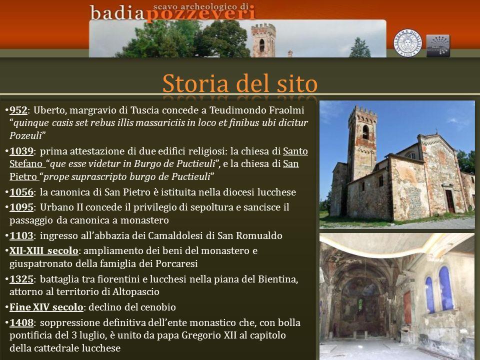 952: Uberto, margravio di Tuscia concede a Teudimondo Fraolmiquinque casis set rebus illis massariciis in loco et finibus ubi dicitur Pozeuli 1039: pr