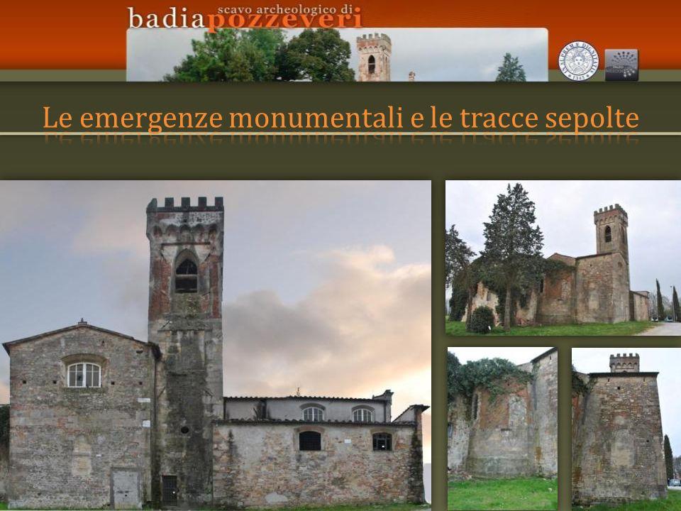STRUTTURE SEPOLTE -I resti dellabbazia medievale (refettorio, capitolo, chiostro ecc.) sono completamente sepolti.