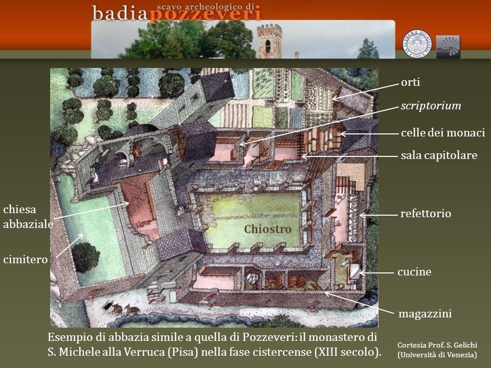 Esempio di abbazia simile a quella di Pozzeveri: il monastero di S. Michele alla Verruca (Pisa) nella fase cistercense (XIII secolo). Cortesia Prof. S