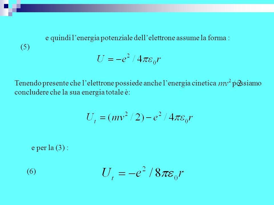 Trascurando lenergia equivalente alle masse a riposo del nucleo e dellelettrone e supponendo che il nucleo sia fermo, la (6) esprime lenergia totale del sistema atomico, energia che a causa del segno negativo aumenta allaumentare della distanza r nucleo-elettrone.