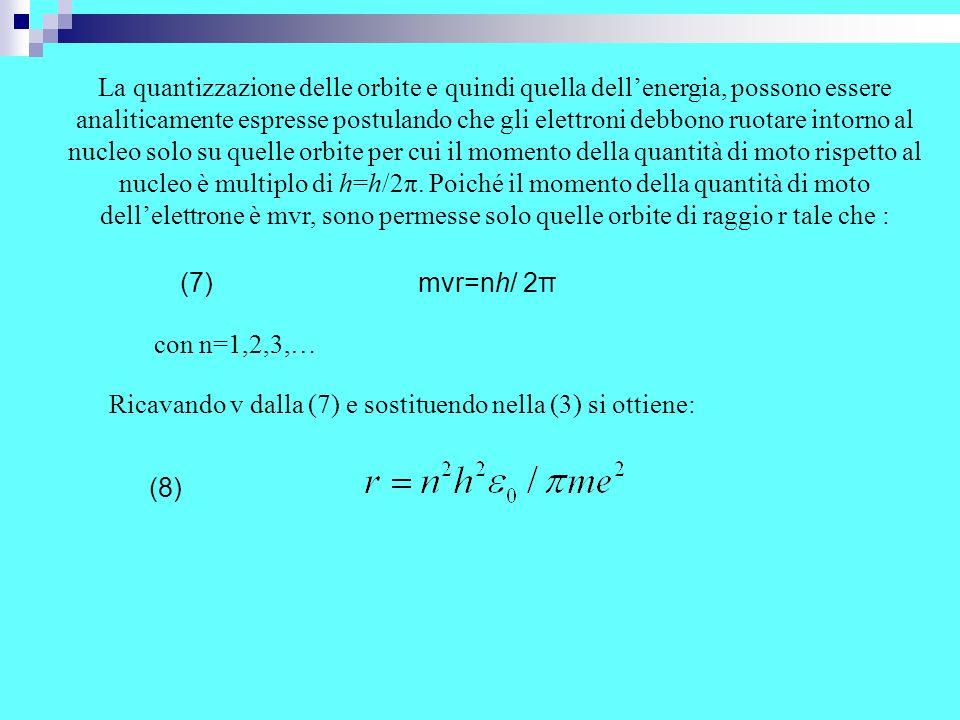 Dalla precedente si deduce che il raggio delle orbite risulta quantizzato, nel senso che non può assumere un valore qualsiasi, ma solo quelli che corrispondono secondo la (8) a valori interi del numero n, che così rappresenta il numero quantico principale.