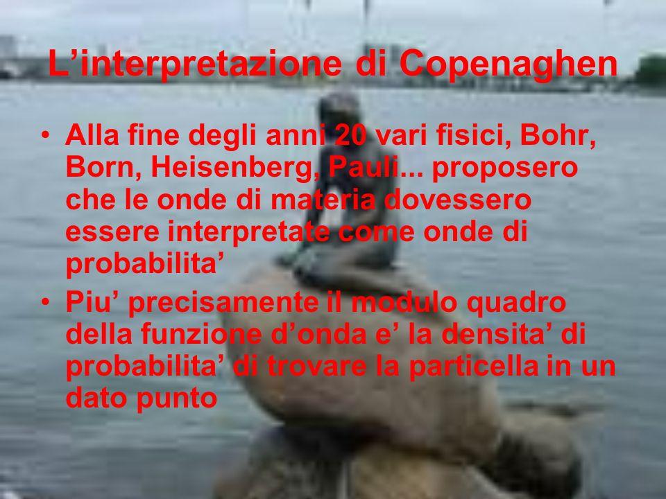 Linterpretazione di Copenaghen Alla fine degli anni 20 vari fisici, Bohr, Born, Heisenberg, Pauli... proposero che le onde di materia dovessero essere