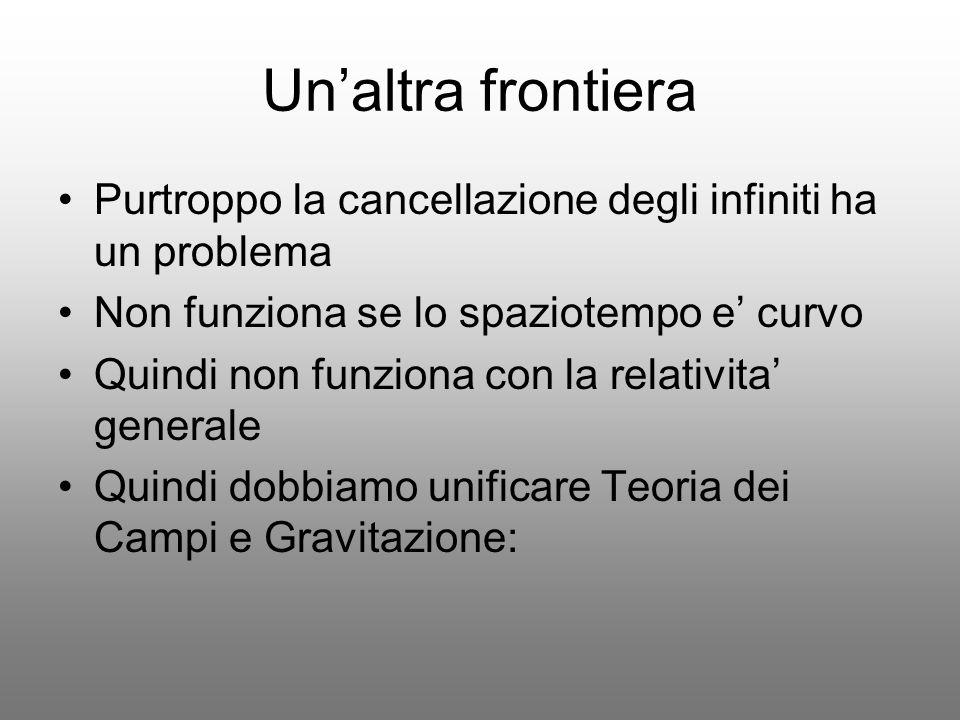 Unaltra frontiera Purtroppo la cancellazione degli infiniti ha un problema Non funziona se lo spaziotempo e curvo Quindi non funziona con la relativit