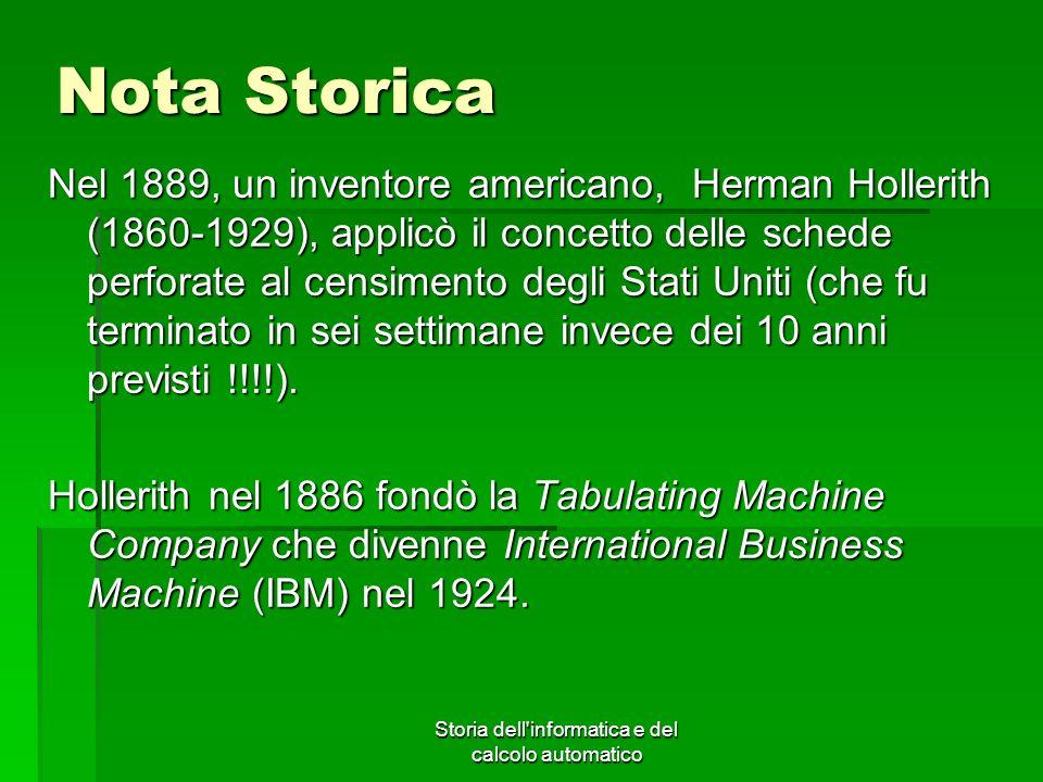 Storia dell'informatica e del calcolo automatico Nota Storica Nel 1889, un inventore americano, Herman Hollerith (1860-1929), applicò il concetto dell