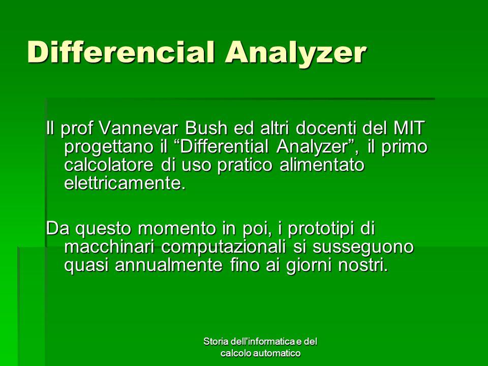 Storia dell'informatica e del calcolo automatico Differencial Analyzer Il prof Vannevar Bush ed altri docenti del MIT progettano il Differential Analy