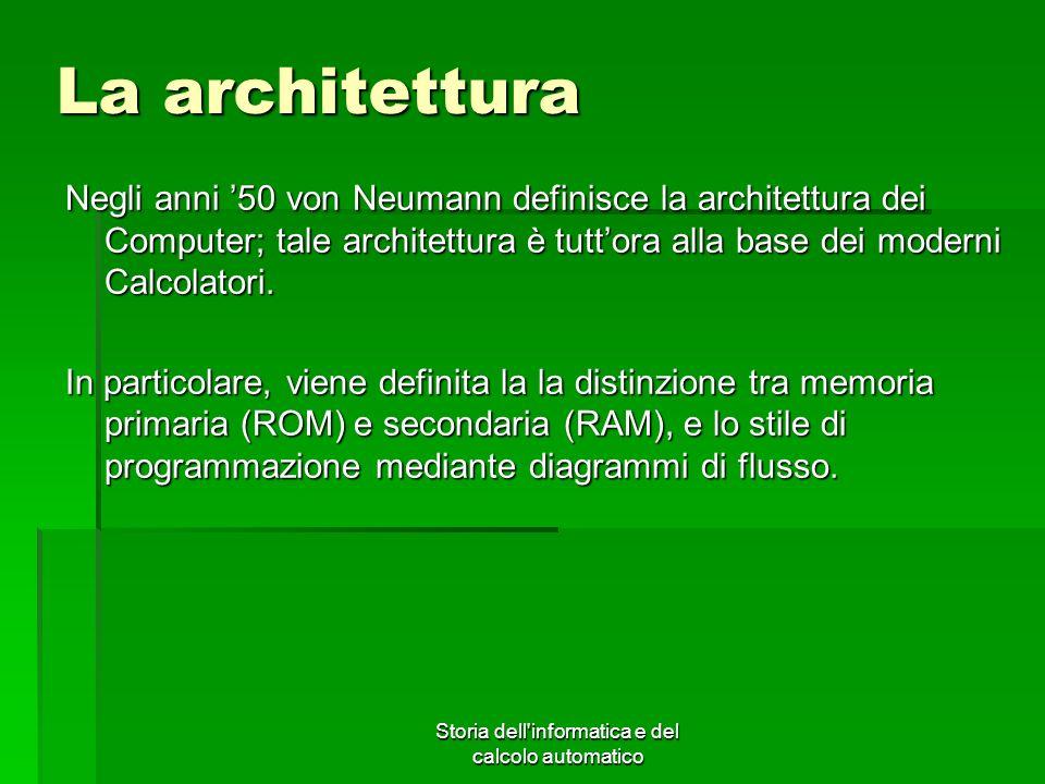 Storia dell'informatica e del calcolo automatico La architettura Negli anni 50 von Neumann definisce la architettura dei Computer; tale architettura è