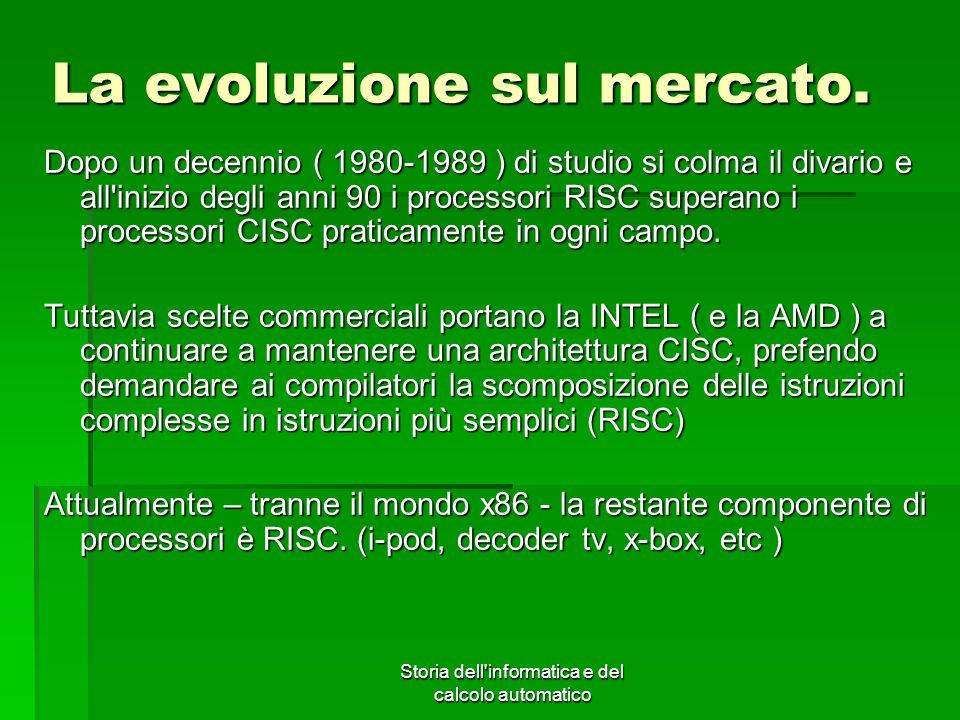 Storia dell'informatica e del calcolo automatico La evoluzione sul mercato. Dopo un decennio ( 1980-1989 ) di studio si colma il divario e all'inizio