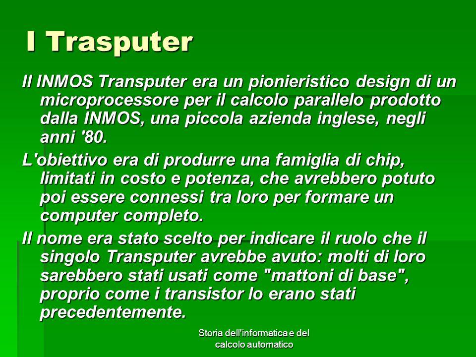 Storia dell'informatica e del calcolo automatico I Trasputer Il INMOS Transputer era un pionieristico design di un microprocessore per il calcolo para