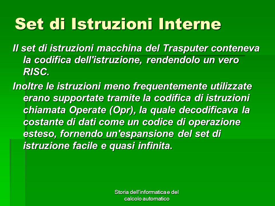 Storia dell'informatica e del calcolo automatico Set di Istruzioni Interne Il set di istruzioni macchina del Trasputer conteneva la codifica dell'istr