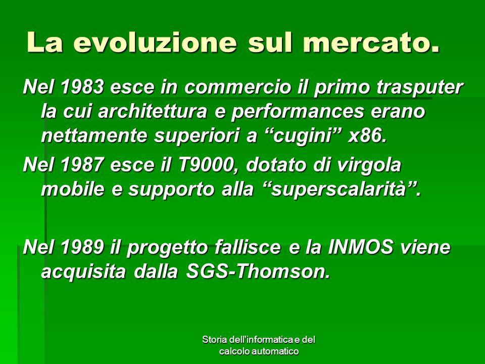 Storia dell'informatica e del calcolo automatico La evoluzione sul mercato. Nel 1983 esce in commercio il primo trasputer la cui architettura e perfor