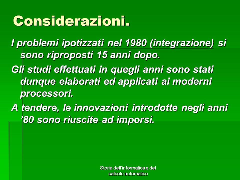 Storia dell'informatica e del calcolo automatico Considerazioni. I problemi ipotizzati nel 1980 (integrazione) si sono riproposti 15 anni dopo. Gli st