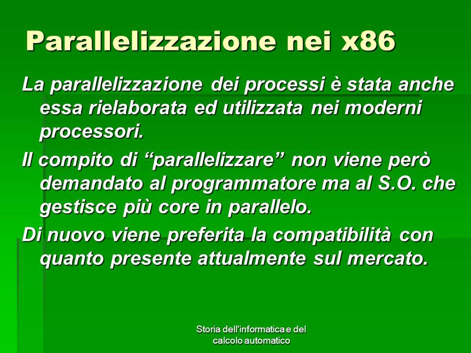 Storia dell'informatica e del calcolo automatico Parallelizzazione nei x86 La parallelizzazione dei processi è stata anche essa rielaborata ed utilizz