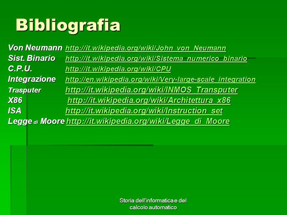 Storia dell'informatica e del calcolo automatico Bibliografia Von Neumann http://it.wikipedia.org/wiki/John_von_Neumann http://it.wikipedia.org/wiki/J