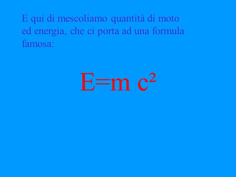 Ma l'energia ha dimensioni di massa lunghezza² / tempo² mentre il momento massa lunghezza / tempo Bene, dobbiamo dividere per la velocità della luce.