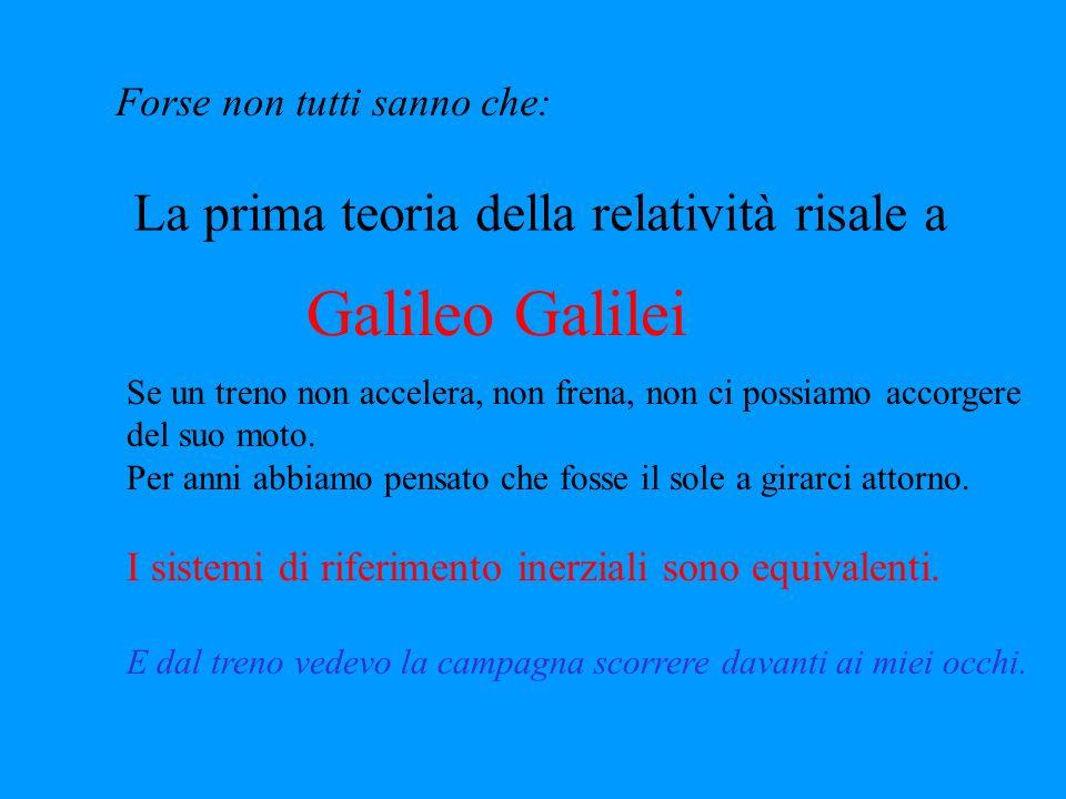 Forse non tutti sanno che: La prima teoria della relatività risale a Galileo Galilei Se un treno non accelera, non frena, non ci possiamo accorgere del suo moto.