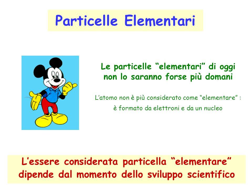 Particelle Elementari Lessere considerata particella elementare dipende dal momento dello sviluppo scientifico Le particelle elementari di oggi non lo saranno forse più domani Latomo non è più considerato come elementare : è formato da elettroni e da un nucleo