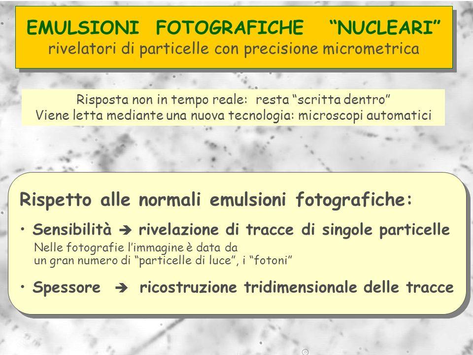 Rispetto alle normali emulsioni fotografiche: Sensibilità rivelazione di tracce di singole particelle Nelle fotografie limmagine è data da un gran num