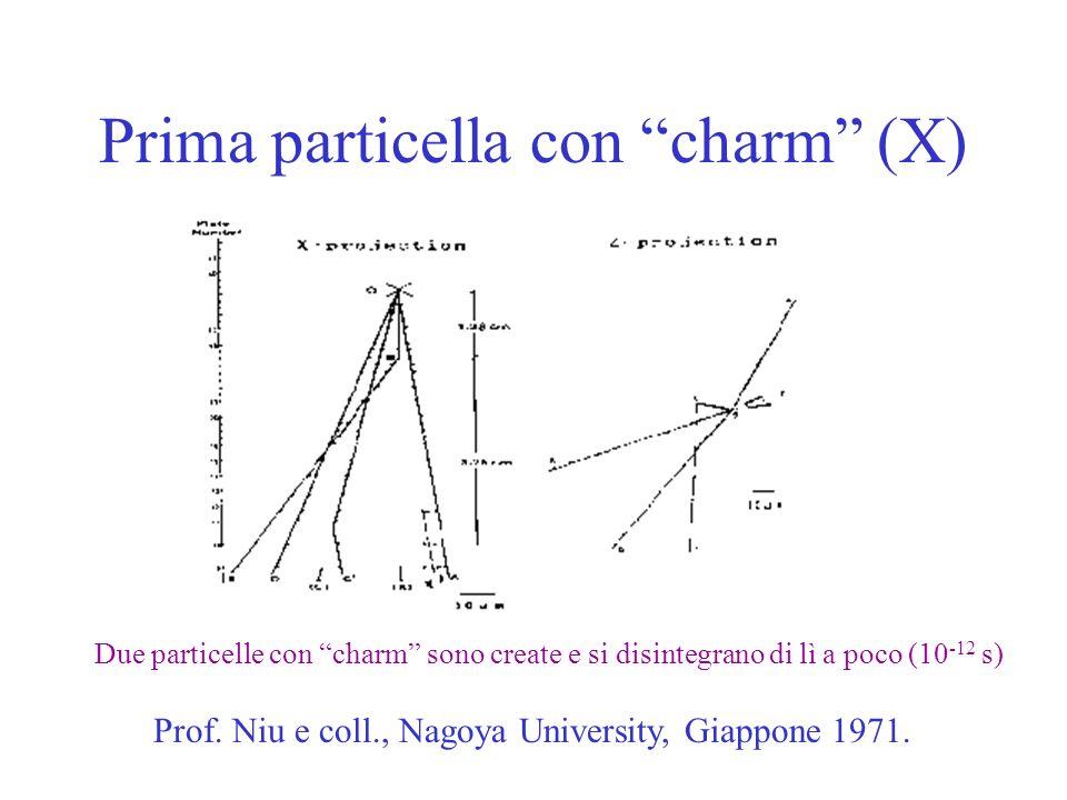 Prima particella con charm (X) Prof. Niu e coll., Nagoya University, Giappone 1971. Due particelle con charm sono create e si disintegrano di lì a poc