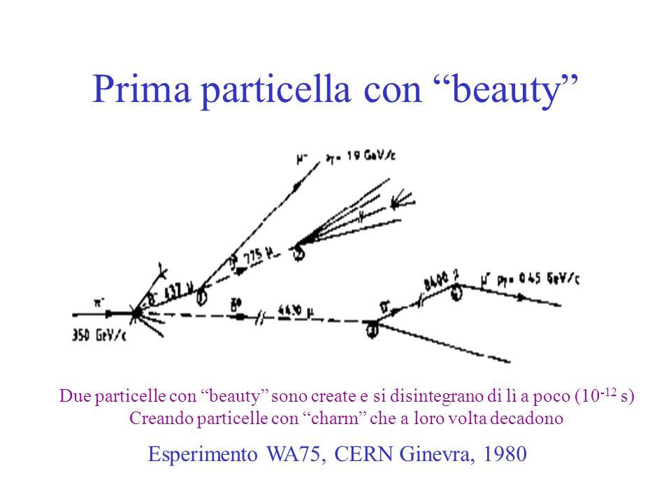 Prima particella con beauty Esperimento WA75, CERN Ginevra, 1980 Due particelle con beauty sono create e si disintegrano di lì a poco (10 -12 s) Creando particelle con charm che a loro volta decadono