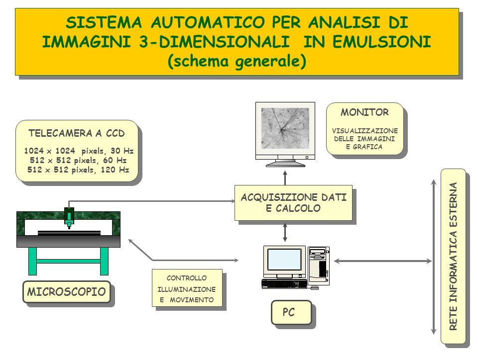 SISTEMA AUTOMATICO PER ANALISI DI IMMAGINI 3-DIMENSIONALI IN EMULSIONI (schema generale) MICROSCOPIO PC MONITOR VISUALIZZAZIONE DELLE IMMAGINI E GRAFI