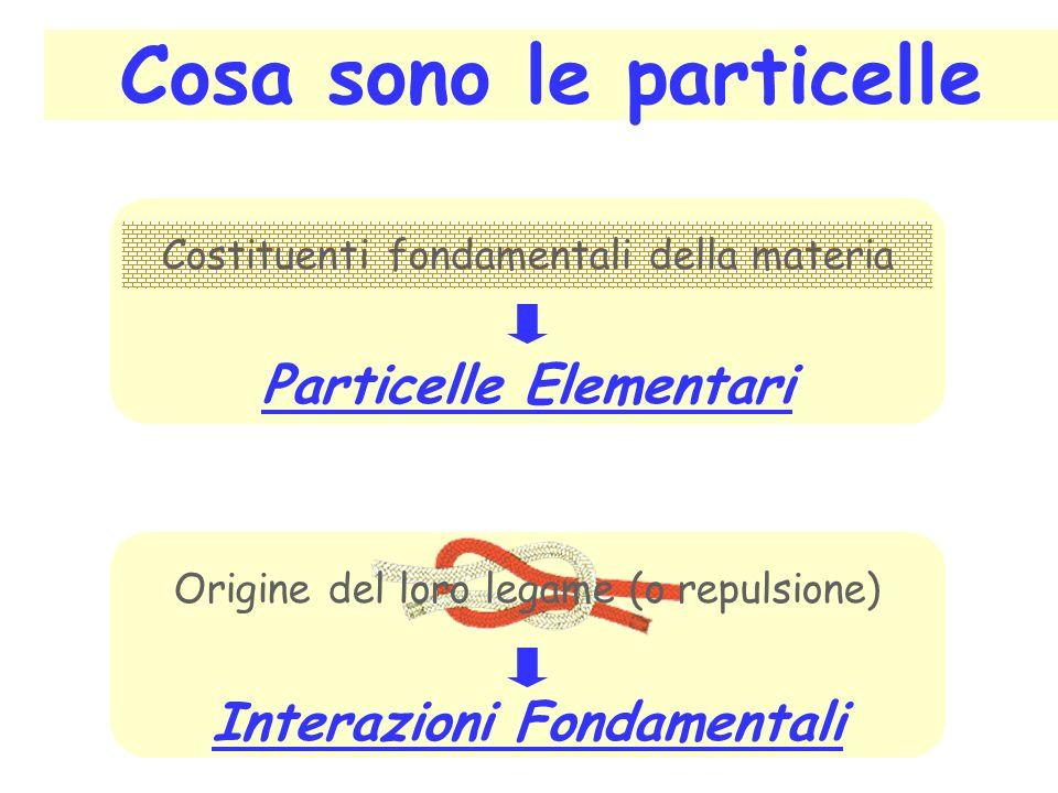 Cosa sono le particelle Costituenti fondamentali della materia Particelle Elementari Origine del loro legame (o repulsione) Interazioni Fondamentali
