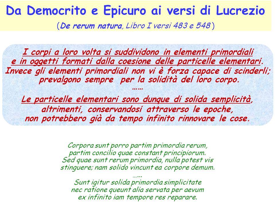 Da Democrito e Epicuro ai versi di Lucrezio (De rerum natura, Libro I versi 483 e 548 ) I corpi a loro volta si suddividono in elementi primordiali e