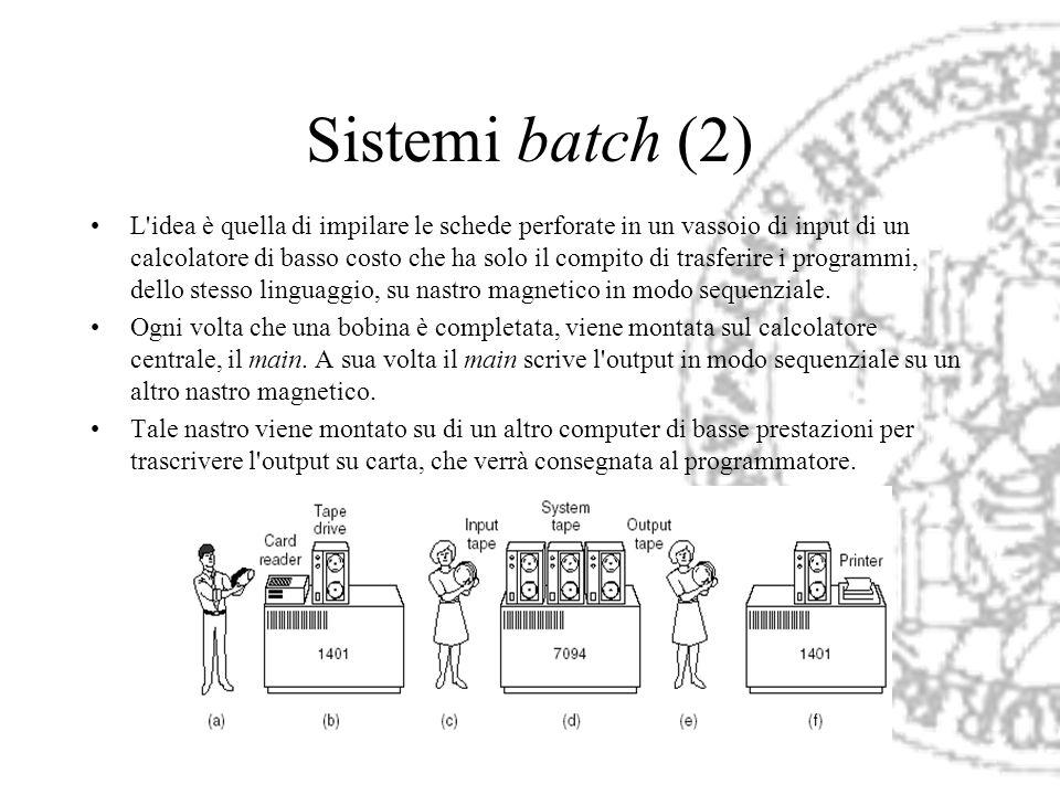 Sistemi batch (2) L'idea è quella di impilare le schede perforate in un vassoio di input di un calcolatore di basso costo che ha solo il compito di tr