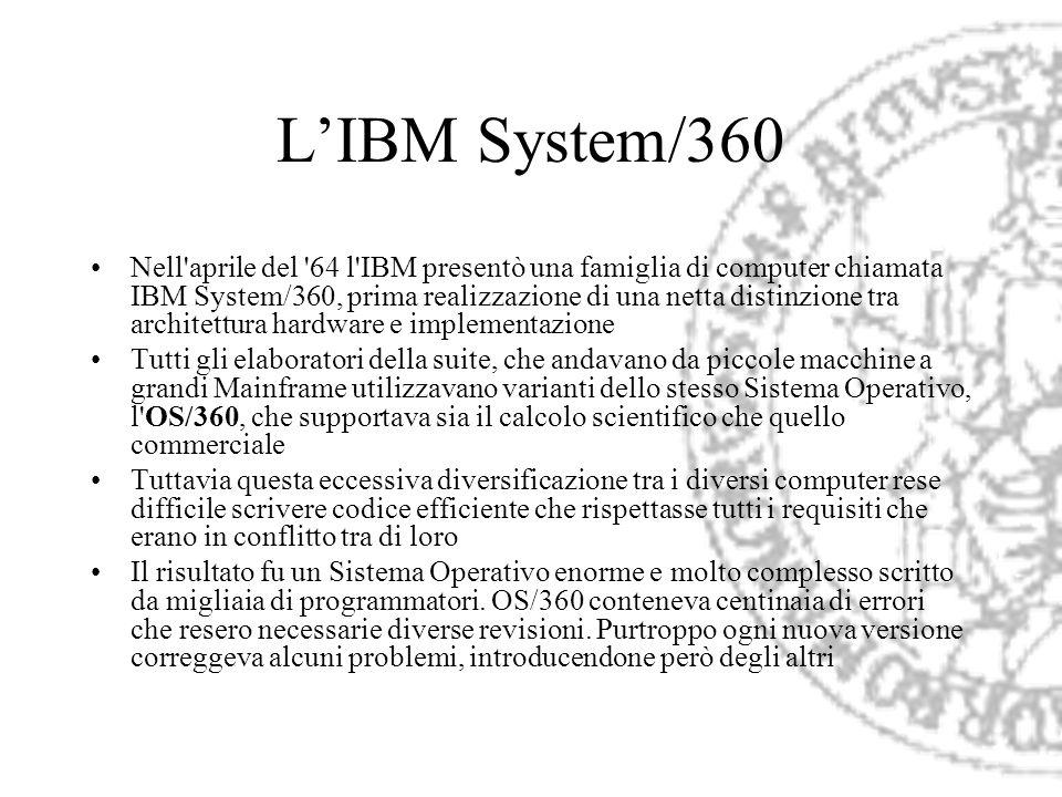 LIBM System/360 Nell'aprile del '64 l'IBM presentò una famiglia di computer chiamata IBM System/360, prima realizzazione di una netta distinzione tra