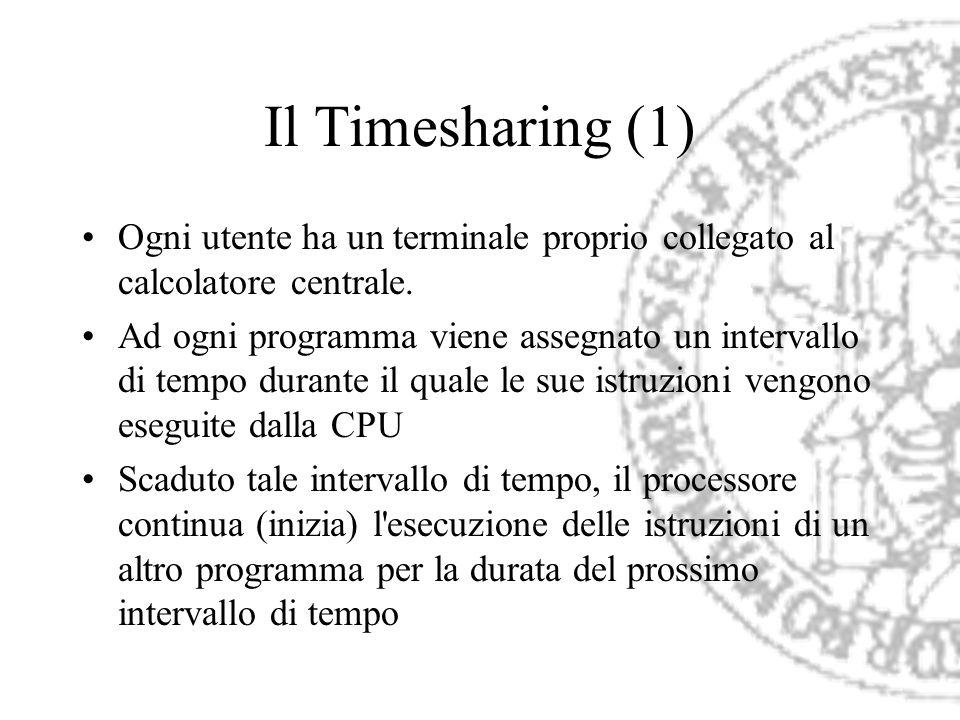 Il Timesharing (1) Ogni utente ha un terminale proprio collegato al calcolatore centrale. Ad ogni programma viene assegnato un intervallo di tempo dur