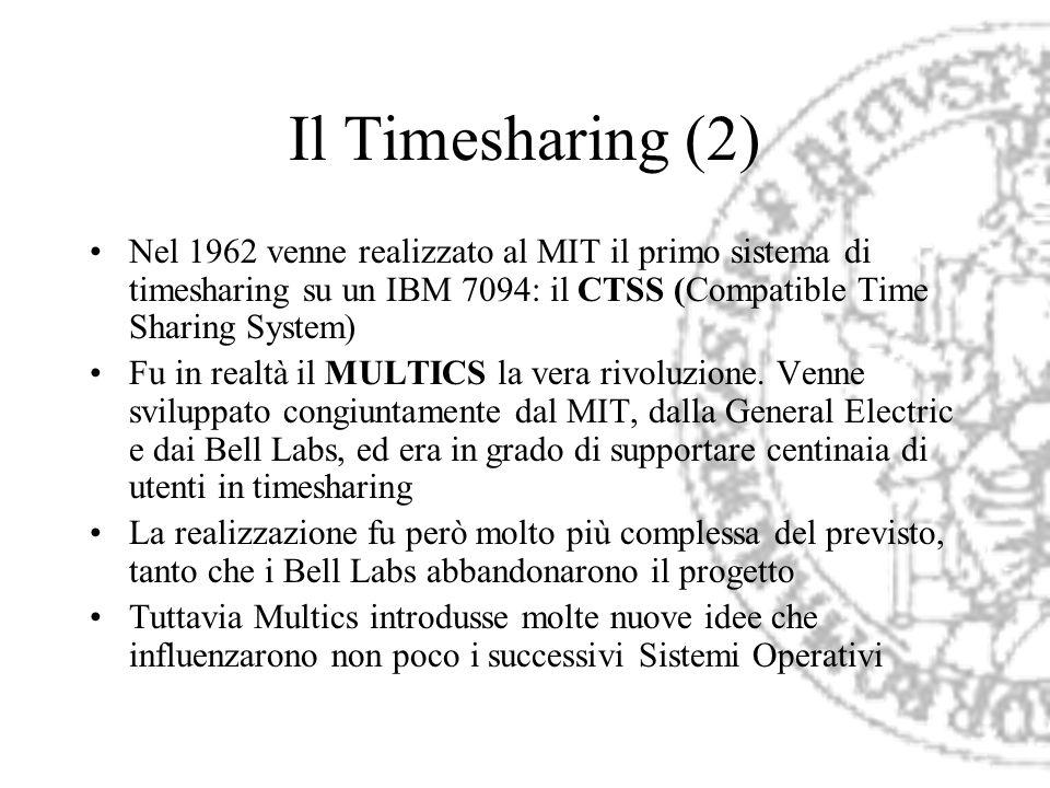 Il Timesharing (2) Nel 1962 venne realizzato al MIT il primo sistema di timesharing su un IBM 7094: il CTSS (Compatible Time Sharing System) Fu in rea
