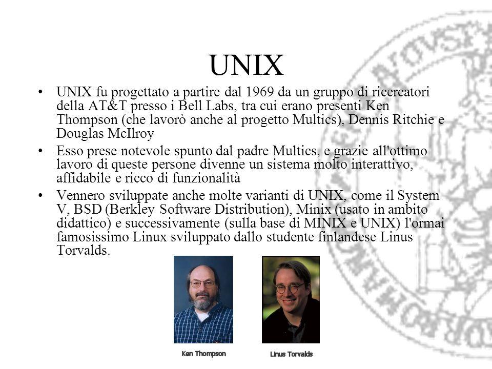 UNIX UNIX fu progettato a partire dal 1969 da un gruppo di ricercatori della AT&T presso i Bell Labs, tra cui erano presenti Ken Thompson (che lavorò