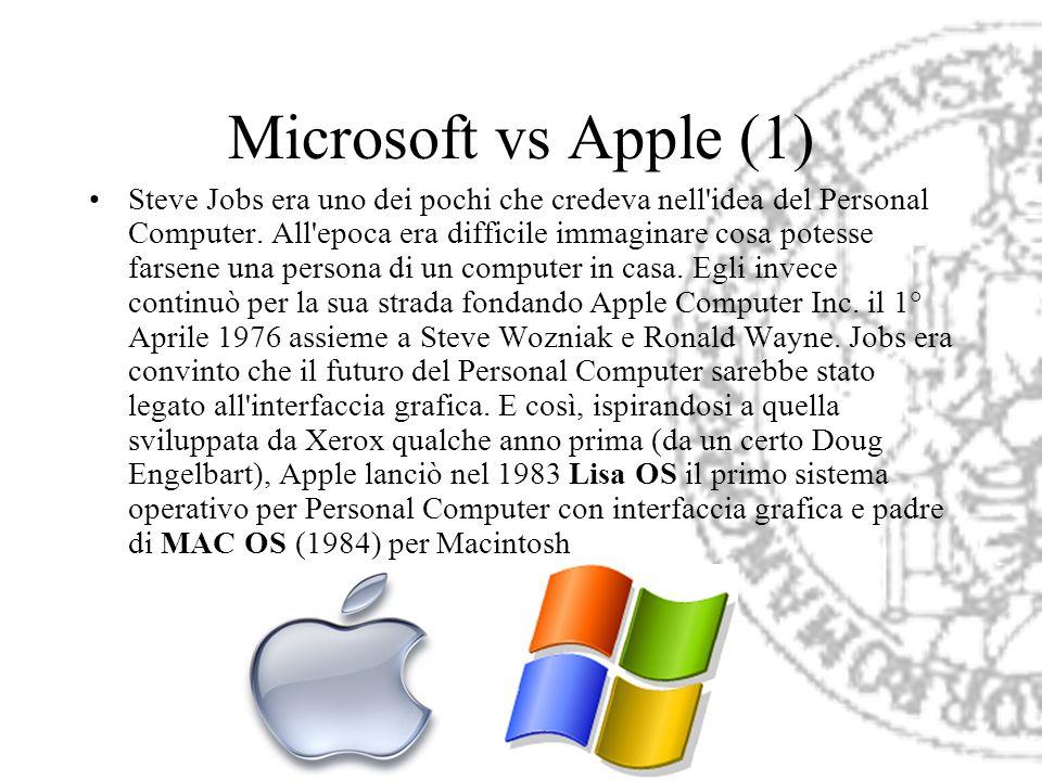 Microsoft vs Apple (1) Steve Jobs era uno dei pochi che credeva nell'idea del Personal Computer. All'epoca era difficile immaginare cosa potesse farse