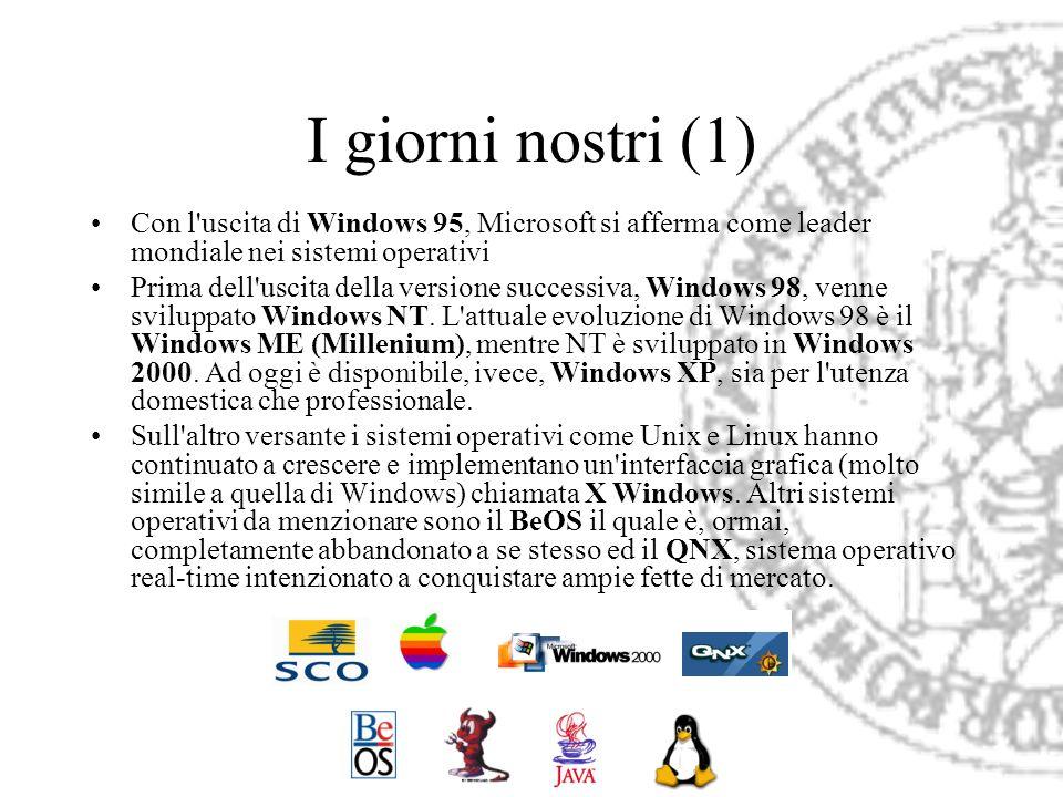 I giorni nostri (1) Con l'uscita di Windows 95, Microsoft si afferma come leader mondiale nei sistemi operativi Prima dell'uscita della versione succe