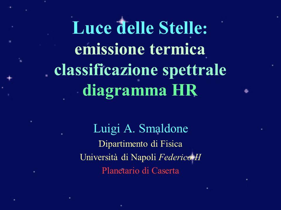 Luce delle Stelle : emissione termica classificazione spettrale diagramma HR Luigi A. Smaldone Dipartimento di Fisica Università di Napoli Federico II