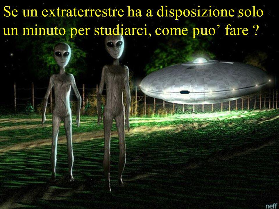 Se un extraterrestre ha a disposizione solo un minuto per studiarci, come puo fare ?