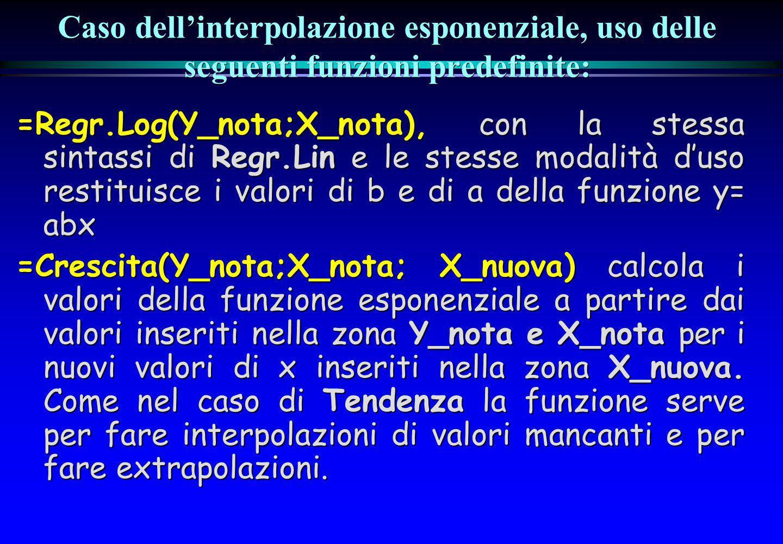 Caso dellinterpolazione esponenziale, uso delle seguenti funzioni predefinite: =Regr.Log(Y_nota;X_nota), con la stessa sintassi di Regr.Lin e le stess
