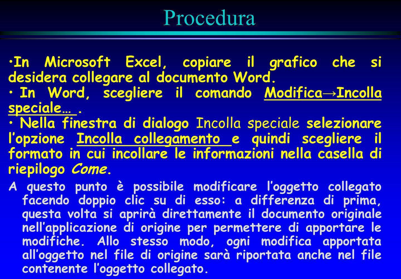 Procedura In Microsoft Excel, copiare il grafico che si desidera collegare al documento Word. In Word, scegliere il comando Modifica Incolla speciale…