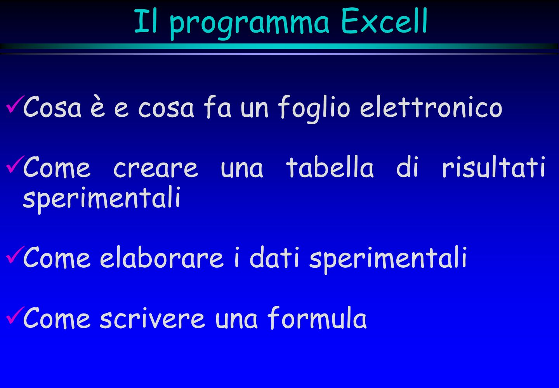 Il programma Excell Cosa è e cosa fa un foglio elettronico Come creare una tabella di risultati sperimentali Come elaborare i dati sperimentali Come s