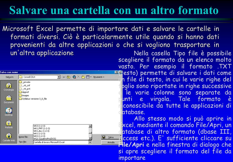 Salvare una cartella con un altro formato Microsoft Excel permette di importare dati e salvare le cartelle in formati diversi. Ciò è particolarmente u