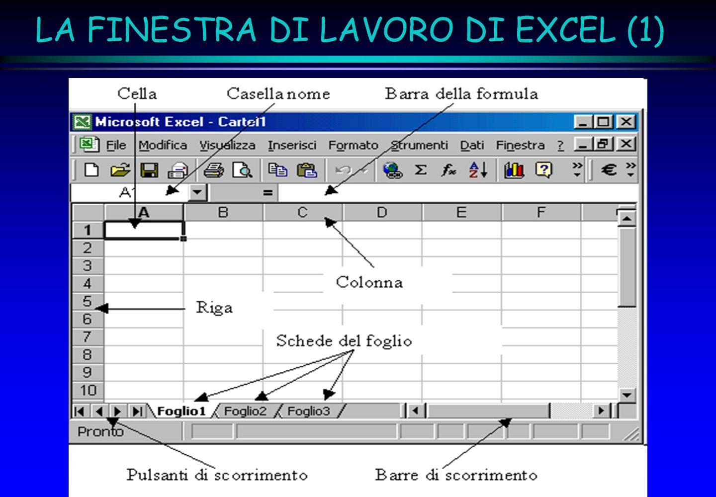 LA FINESTRA DI LAVORO DI EXCEL (1)
