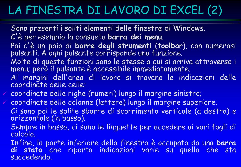 LA FINESTRA DI LAVORO DI EXCEL (2) Sono presenti i soliti elementi delle finestre di Windows. C'è per esempio la consueta barra dei menu. Poi c'è un p