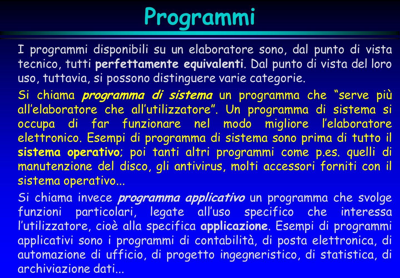Programmi I programmi disponibili su un elaboratore sono, dal punto di vista tecnico, tutti perfettamente equivalenti. Dal punto di vista del loro uso