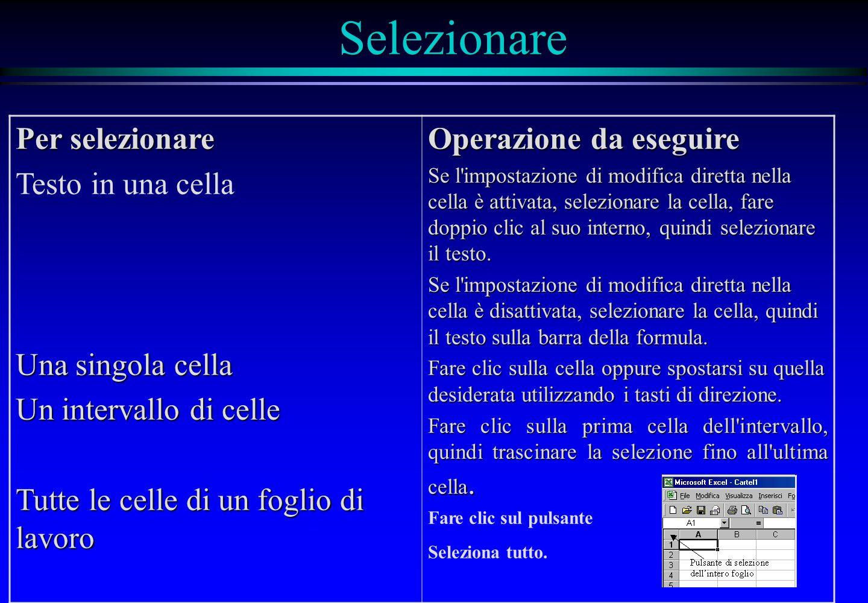 Selezionare Per selezionare Testo in una cella Una singola cella Un intervallo di celle Tutte le celle di un foglio di lavoro Operazione da eseguire S