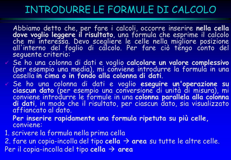 INTRODURRE LE FORMULE DI CALCOLO Abbiamo detto che, per fare i calcoli, occorre inserire nella cella dove voglio leggere il risultato, una formula che