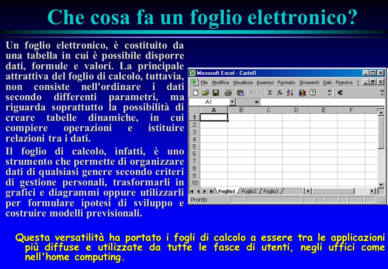 Che cosa fa un foglio elettronico? Un foglio elettronico, è costituito da una tabella in cui è possibile disporre dati, formule e valori. La principal