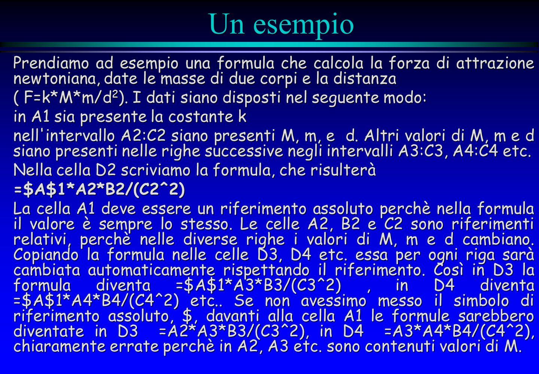 Un esempio Prendiamo ad esempio una formula che calcola la forza di attrazione newtoniana, date le masse di due corpi e la distanza ( F=k*M*m/d 2 ). I